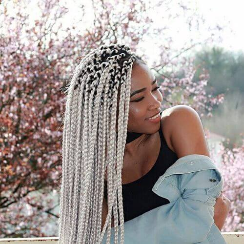 silver box braids styles