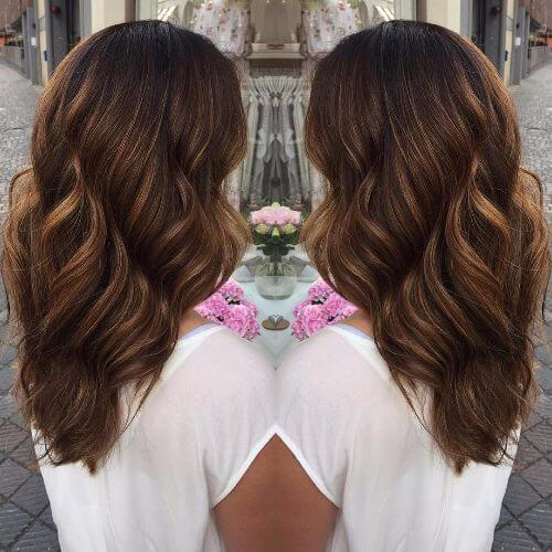 wavy hair in dark caramel hair color