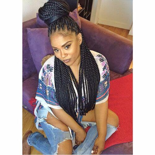 high bun halfdo box braids styles
