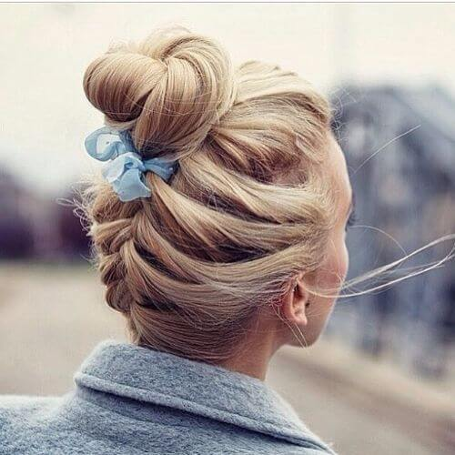 reverse french braid high bun