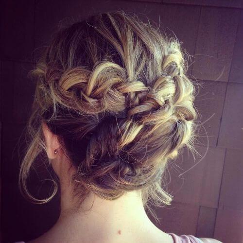 braided updo for short hair