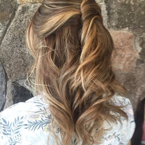 braided hairstyle on light caramel hair