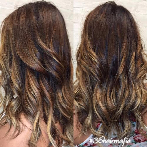 chocolate hair with honey blonde highlights