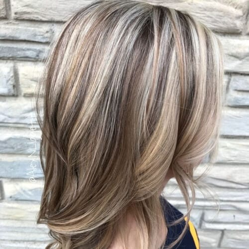 Light Brown Lowlights, Platinum Highlights