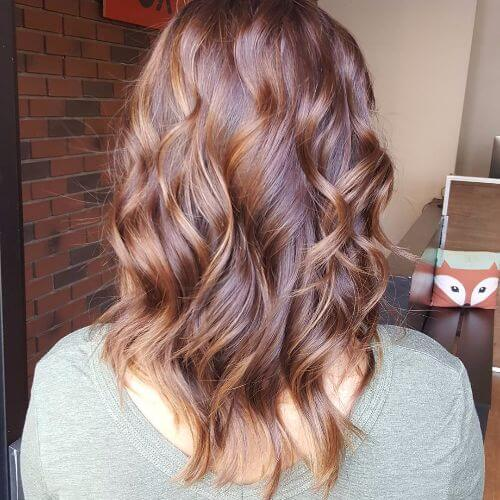 caramel balayage on medium brown hair