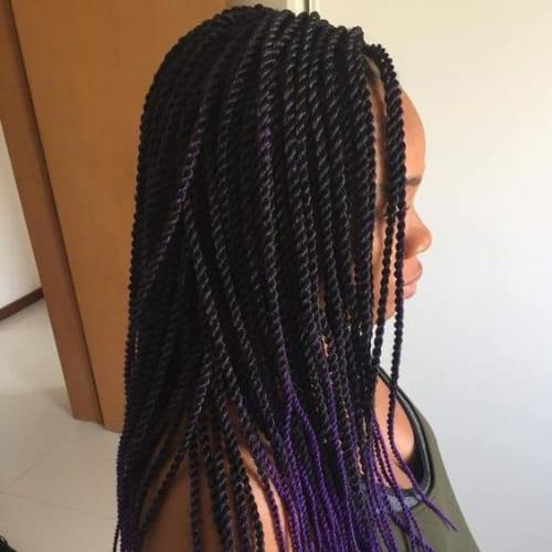 Rope Braids With Purple Ends twist braids