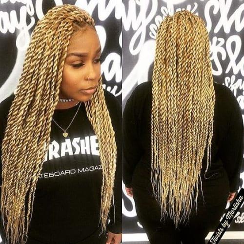 long blonde twist braids