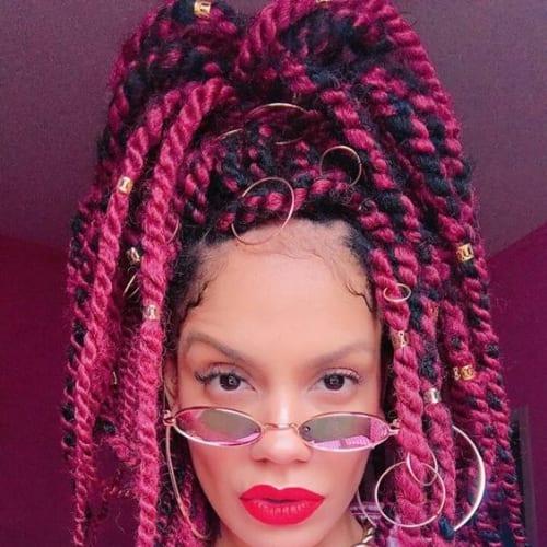 magenta twist braids