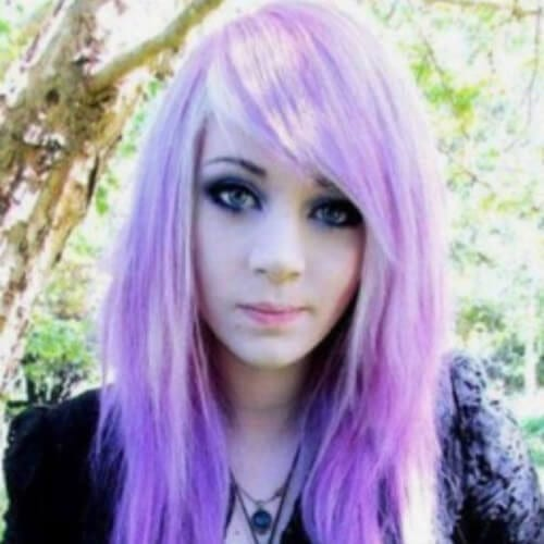 pastel long emo hairstyles for girls