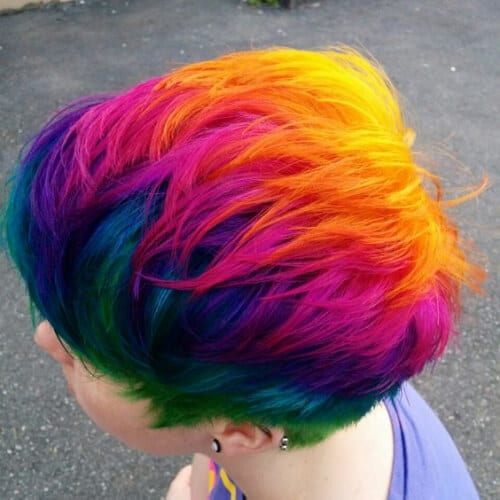 arco iris corto cortes de pelo en capas