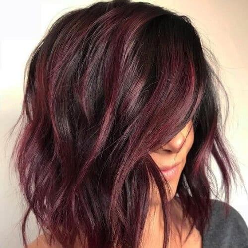 layered burgundy hair