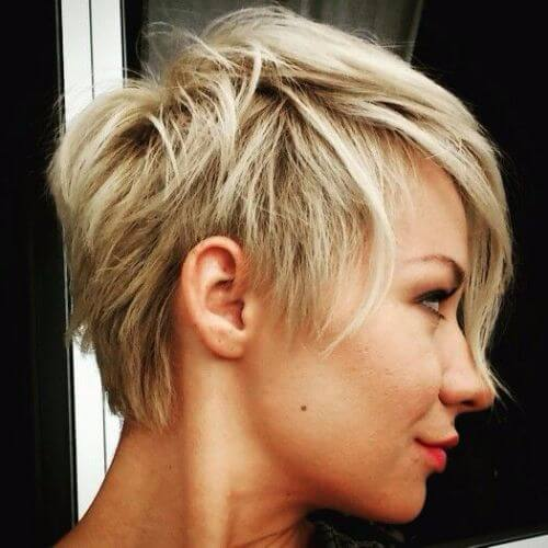chunky blonde pixie cut