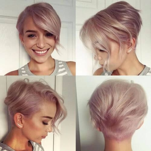 rose gold lilac pixie cut