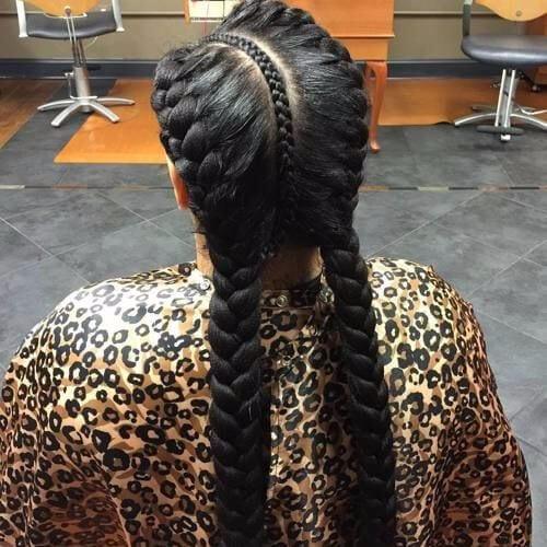 woman with three goddess braids