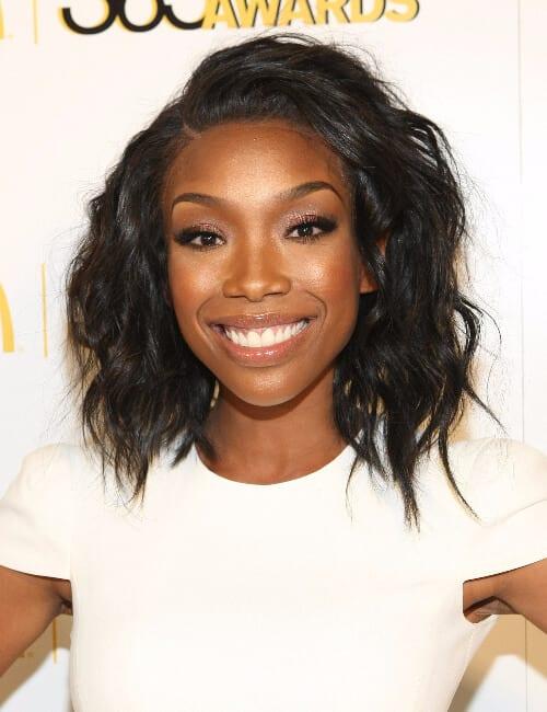 brandy norwood lob short hairstyles for black women