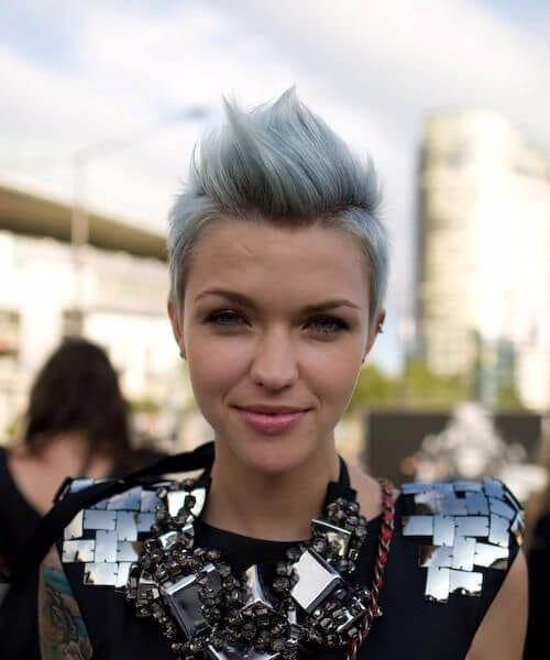 grey hair bluish hue punk rock style