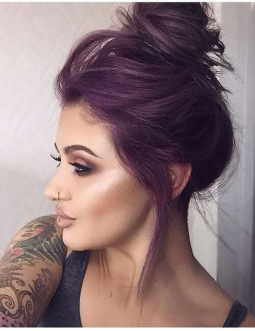 messy top bun purple hair