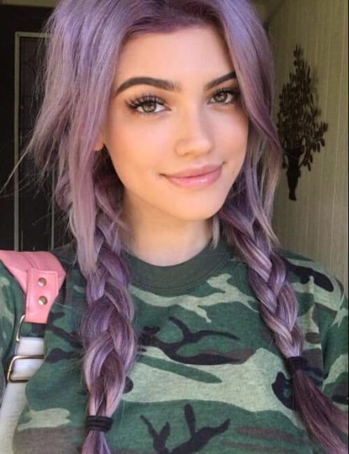 purple hair in two pigtails