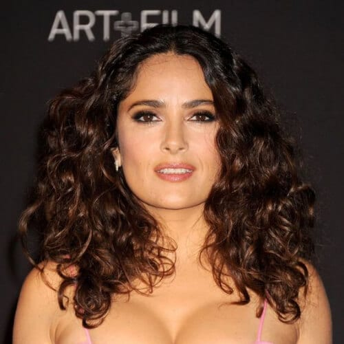 salma hayek hairstyles for curly hair