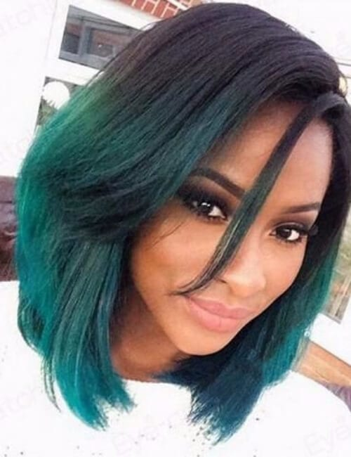 short hairstyle for black women ombre green bob medium