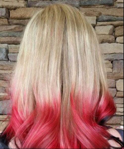 blonde, black, and red ombre hair