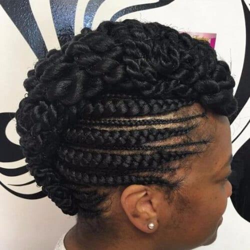 faux mohawk ghana braids