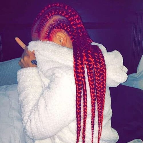 fiery red ghana braids
