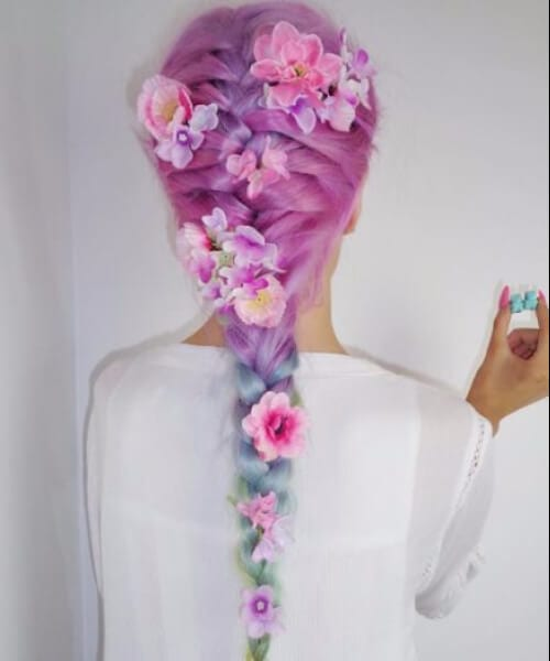 rainbow flowers mermaid hair