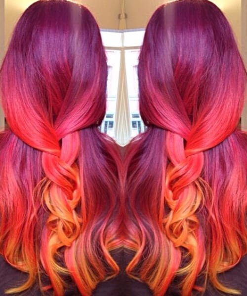 wine plum to red plum to peach to yellow orange! sunset mermaid hair