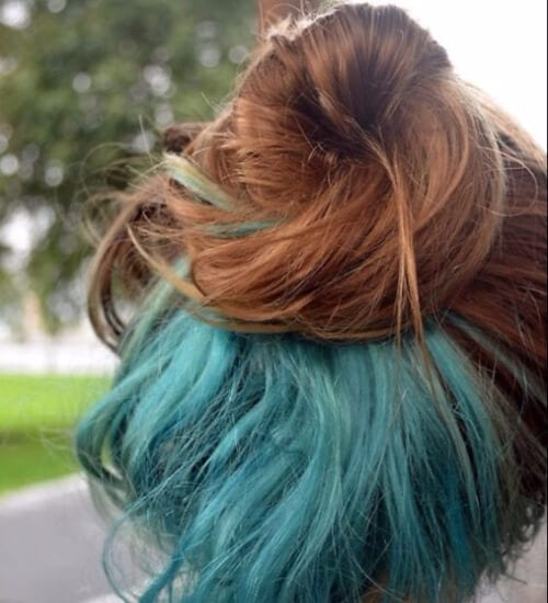 Blue under layer hair blue ombre hair