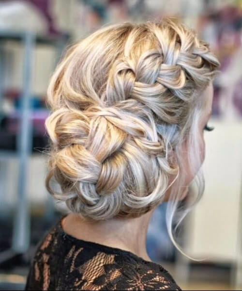 Braided up-do chic chignon prom updos