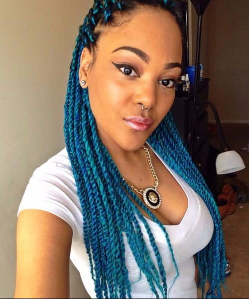 Senegalese twist with aqua braiding hair