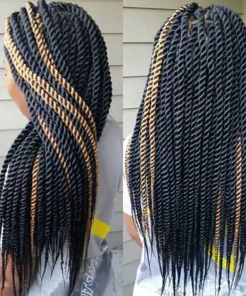 black and blonde senegalese twist