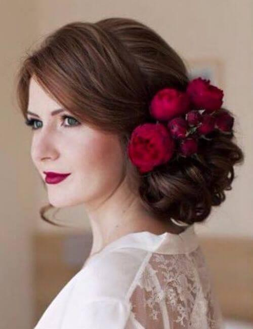 chocolate hair red peonies intricate bun bridesmaids hairstyles