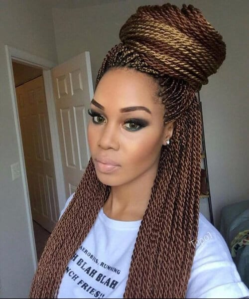 copper senegalese twist top half bun