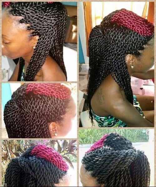 faux red mohawk senegalese twist