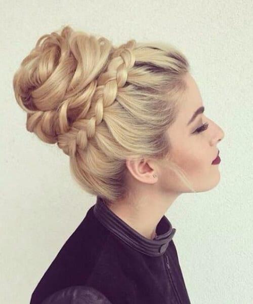 high bun crown braid prom updos