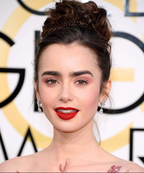 lilly collins prom updos