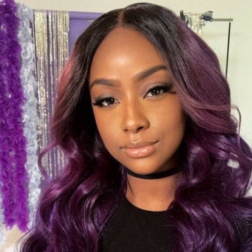 sew in hairstyles purple
