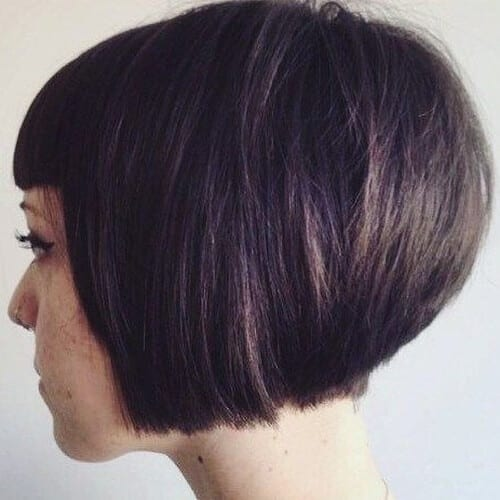 Short Stacked Bob Haircuts with Blunt Bangs