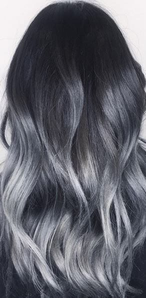 black to dark grey ombre hair