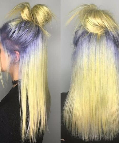 blue grey to golden yellow ombre hair