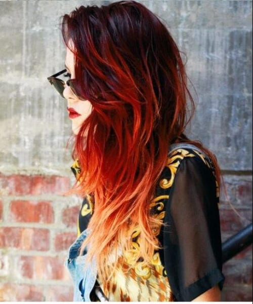 cherry cola to yellow ombre hair