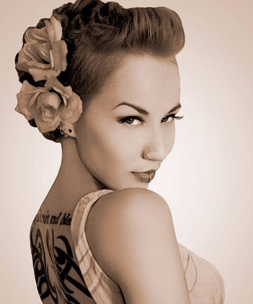 fauxhawk double rose pin up hairstyles