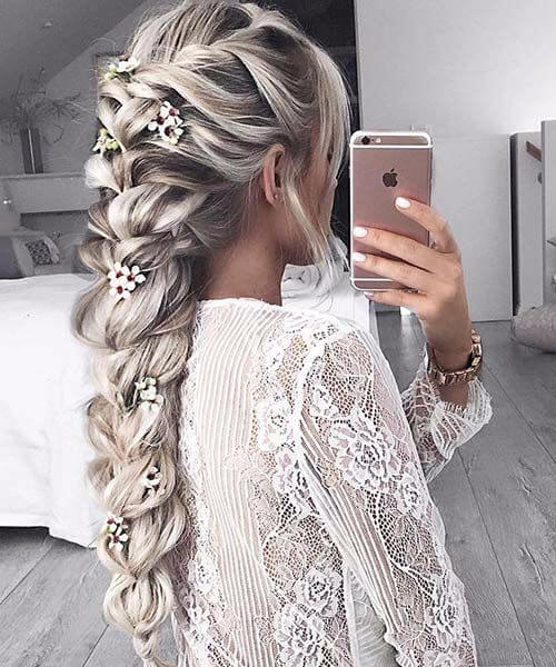 jumbo braid and cherry blossoms long hairstyles