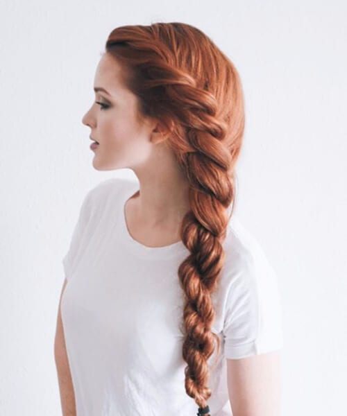 red twisted braid long hairstyles