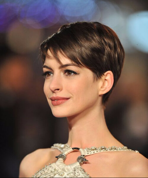 Anne Hathaway long pixie cut
