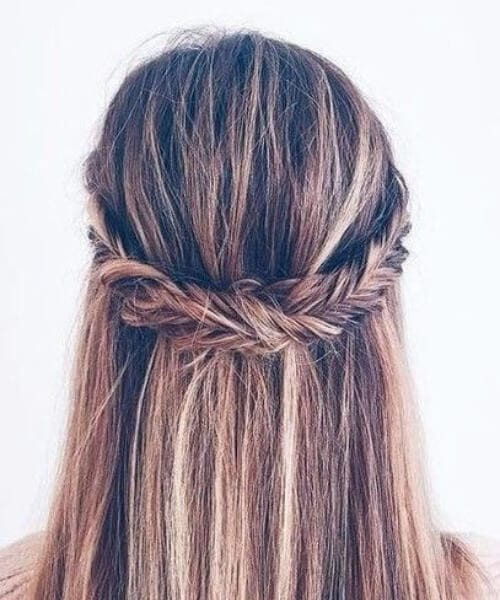 Fishtail Crown Braid Half Down Half Up Balayage Bouffant hairstyles for thin hair