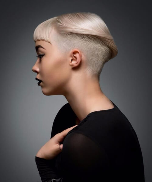Short Slick and buzzed long pixie cut