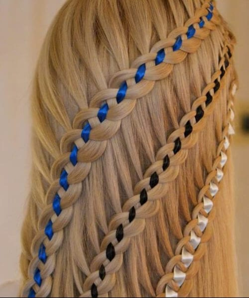Waterfall braids, four strand, half up little girl hairstyles